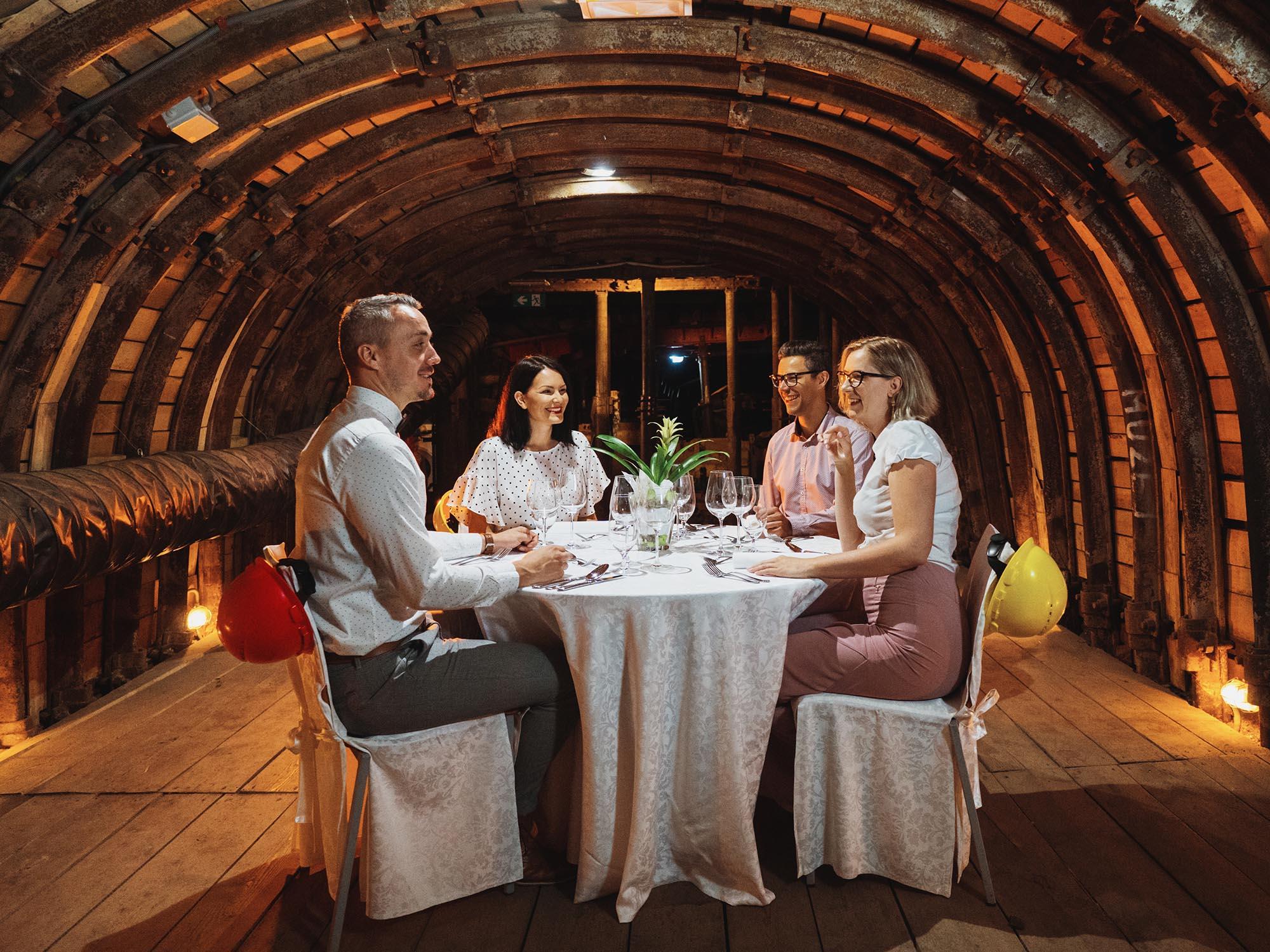 Dinner at 160 metres below ground