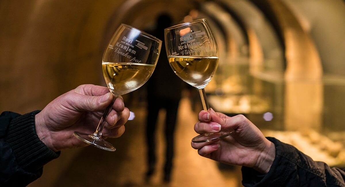 Wine Route in the Tunnels under the old town of Kranj