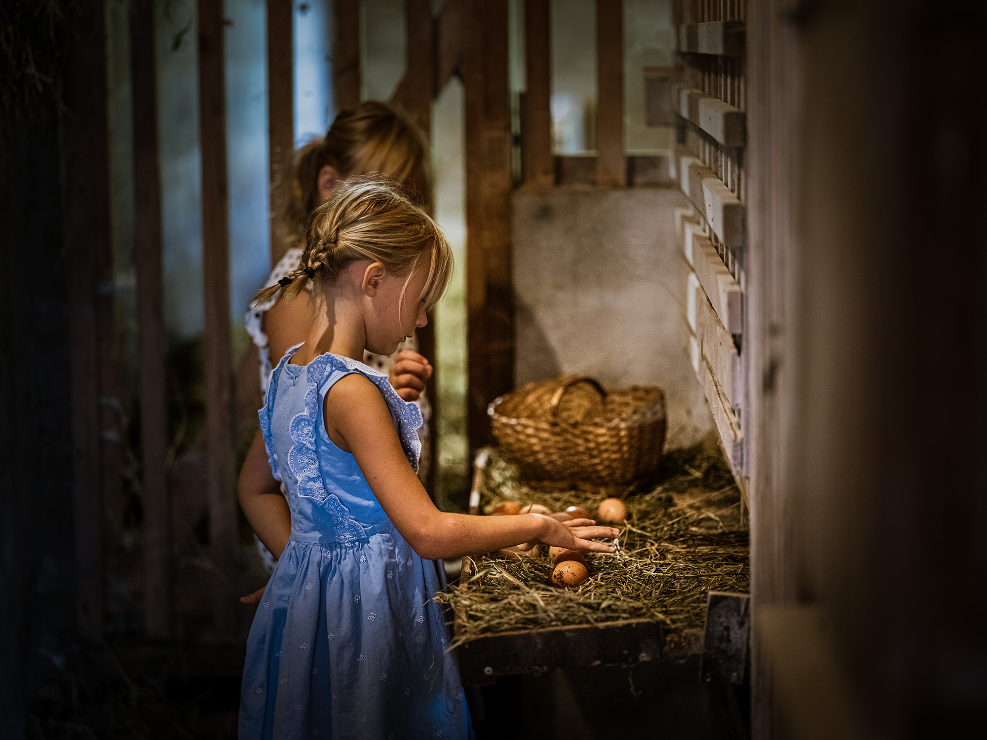 Tinka in Lučka nabirata jajca